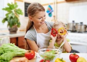 47163766 vegetarian mother & child