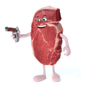 49603815 - steak with gun